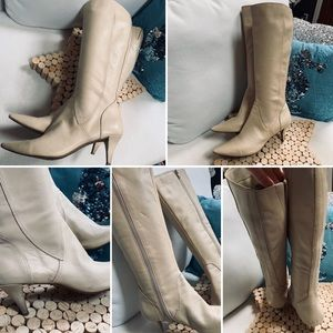 NINE WEST BOOTS Leather Heels Sz 8.5M Cream GUC